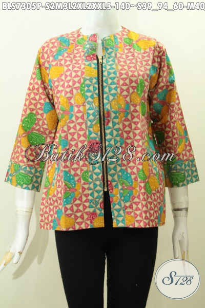 Baju Batik Perempuan Untuk Kerja, Blus Batik 2 Warna Dengan Resleting Depan Motif Bagus Proses Printing, Cocok Juga Buat Jalan-Jalan [BLS7305P-M , L , XL , XXL]