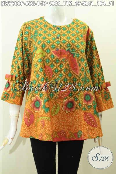 Blus Lengan Berpita, Baju Batik Solo Keren Desain A Simetris Motif Bagus Proses Printing Asli Buatan Solo, Size M