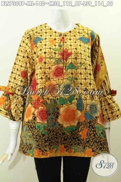 Baju Batik Solo Wanita Terbaru, Busana Batik Modern Desain A Simetris Bahan Halus Proses Printng Motif Terkini Lengan Berpita Harga 140K [BLS7309P-L]