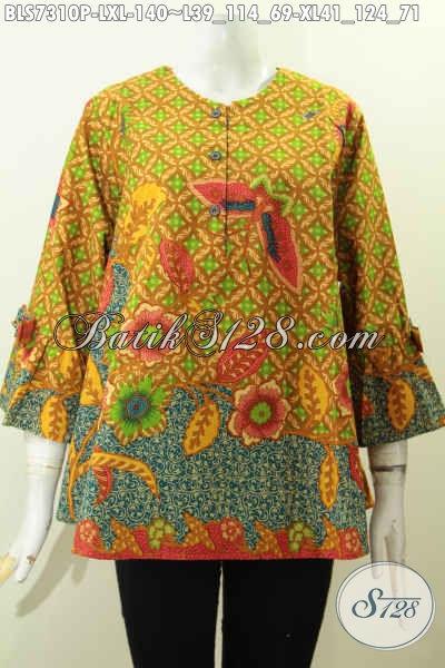 Jual Baju Batik Wanita Terkini Kwalitas Bagus Bahan Adem Proses Printing Desain A Simetris Lengan Berpita, Tampil Gaya Dan Modis, Size L