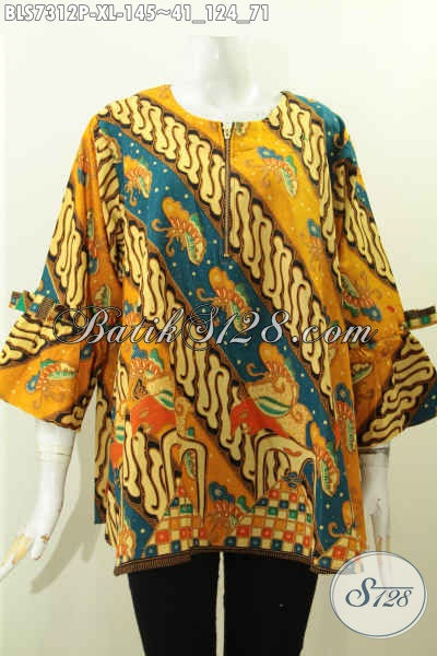 Baju Batik Motif Klasik A Simetris, Busana Batik Blus Solo Jawa Tengah Pilihan Sempurna Tampil Gaya, Size XL