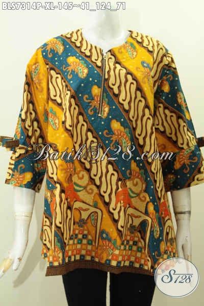 Sedia Baju Batik Kerja Keren Motif Elegan Klasik, Blus Batik Printing Solo Nan Berkelas Model A Simetris Lengan Pakai Pita Harga 145K, Size XL