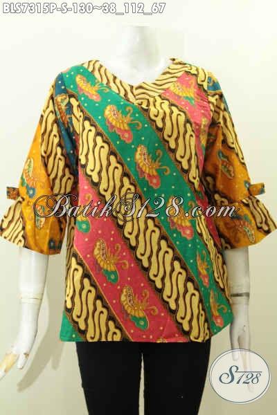 Toko Online Aneka Pakaian Batik Solo, Sedia Blus Batik Modis A Simetris Lengan Berpita Untuk Wanita Muda Size Hanya 130K
