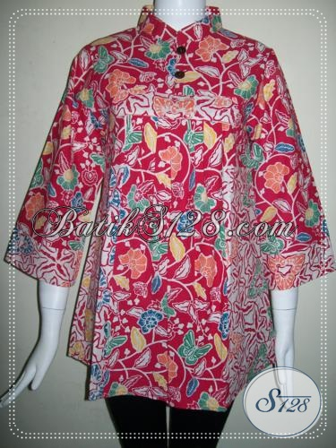 Baju Batik Wanita Krah Shanghai Warna Merah [BLS736C-S] - Toko Batik ...