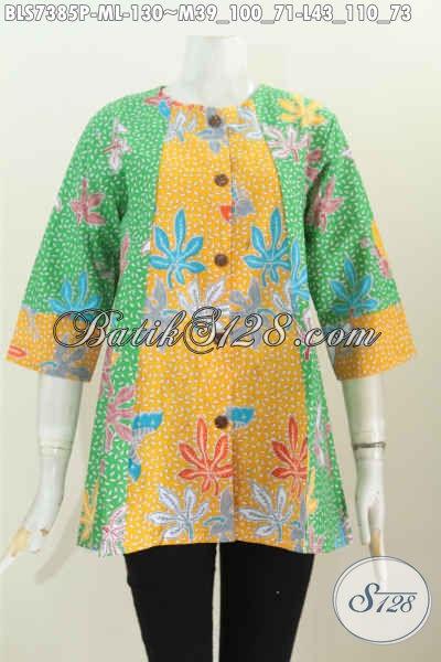Baju Blus Dual Warna, Busana Batik Solo Keren Motif Trendy Proses Printing, Pas Buat Santai Dan Resmi [BLS7385P-M , L]