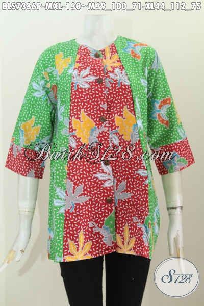 Grosir Baju Batik Wanita Online, Sedia Blus 2 Warna Desain A Simetris Proses Printing, Tampil Lebih Modis [BLS7386P-M , XL]