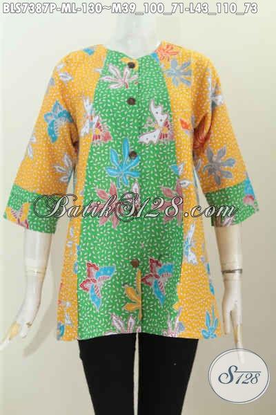 Blus Batik Motif Kupu Daun Pepaya Dual Warna, Busana Batik Keren Model A Simetris Harga 130K, Asli Solo Ukuran M – L