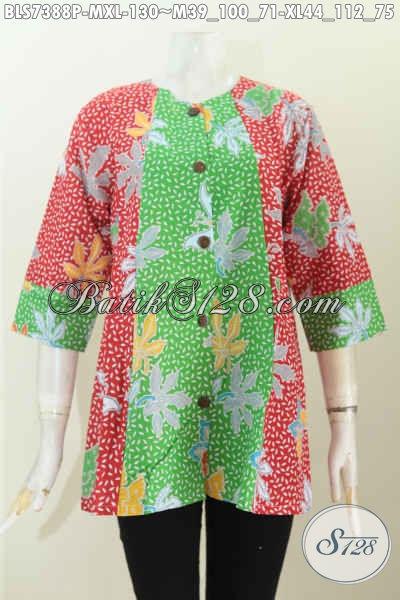 Aneka Baju Batik Wanita Muda Dan Dewasa, Blus Batik Modis Kombinasi 2 Warna Model A Simetris Harga 130 Ribu Saja [BLS7388P-XL]
