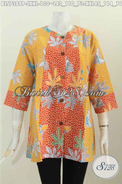 Tempat Belanja Pakaian Batik Online, Sedia Blus 2 Warna Desain A Simetris Motif Bagus Proses Printing 100 Ribuan Aja [BLS7389P-XXL]