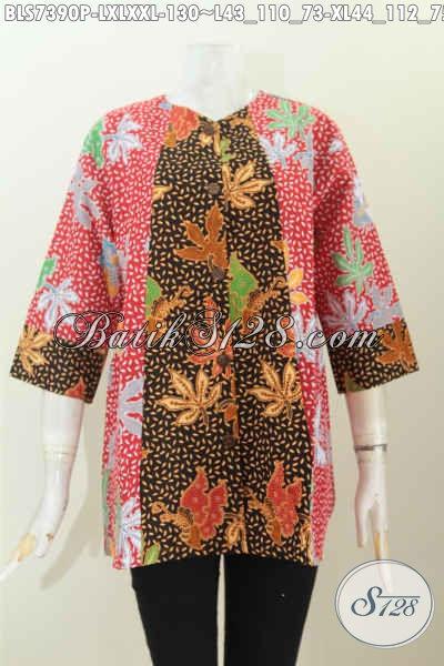 Baju Batik Modis Bisa Untuk Kerja Dan Jalan-Jalan, Blus Model A Simetris Dengan 2 Warna Proses Printing, Tampil Lebih Gaya [BLS7390P-L]