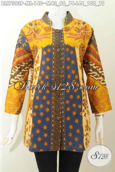 Batik Blus Elegan Motif Klasik Sinaran, Pakaian Batik Solo Proses Printing Kerah Shanghai Hanya 140K, Size M