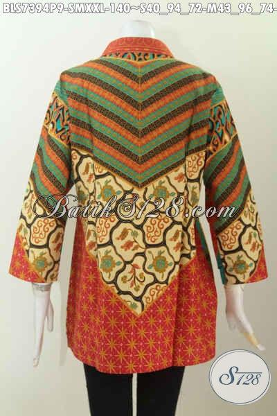 Sedia Pakaian Batik Wanita Modern, Baju Batik Blus Kerah Shanghai Motif Klasik Sinaran Printing, Wanita Tampil Istimewa [BLS7394P-M]
