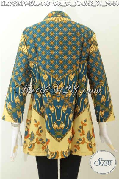 Blus Bati Elegan Motif Sinaran, Pakaian Batik Kerah Shanghai Pas Untuk Seragam Kerja, Size M – L