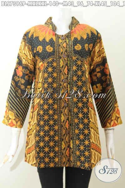 Pakaian Batik Keren Elegan Motif Klasik Sinaran, Produk Busana Batik Jawa Etnik Kerah Shanghai, Tampil Menawan Dan Anggun, Size M – XL – XXL
