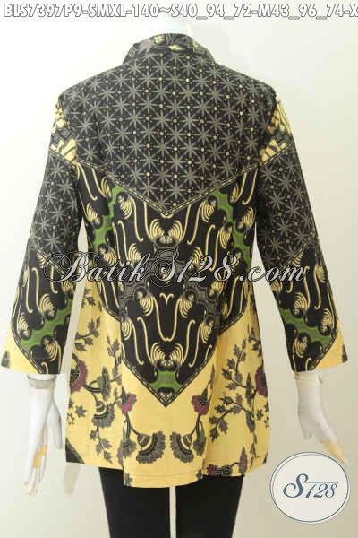 Baju Blus Elegan Bahan Batik Printing, Pakaian Batik Kerah Shanghai Untuk Kerja Kantoran Motif Klasik Harga 140K [BLS7397P-S , M , XL]