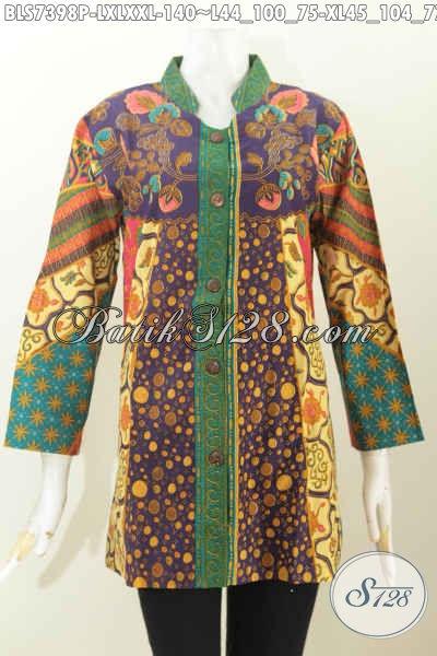 Busana Batik Kerja Motif Sinaran Bahan Halus Proses Printing, Pakaian Batik Kerah Shanghai Buatan Solo Asli Hanya 100 Ribuan [BLS7398P-XL]