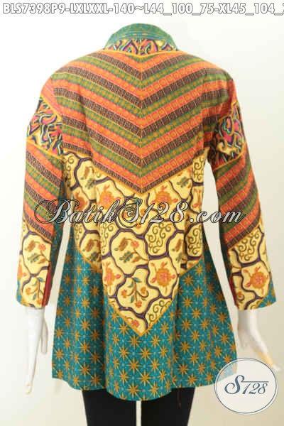 Produk Terkini Blus Batik Wanita Dewasa Motif Sinaran Printing, Busana Batik Jawa Etnik Kerah Shanghai Untuk Acara Formal, Size L – XL – XXL