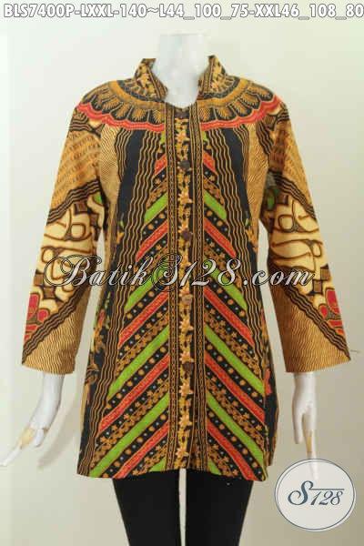 Jual Online Batik Blus Klasik, Busana Batik Kerah Shanghai Elegan, Bikin Penampilan Mempesona, Size L