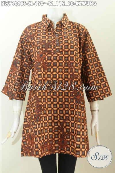 Baju Blus Batik Klasik Motif Kawung, Busana Batik Kerah Lancip, Spesial Untuk Wanita Karir Tampil Berkelas, Size XL