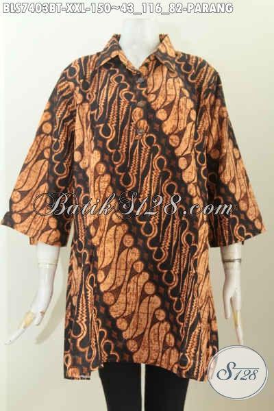 Batik Blus Klasik Motif Parang Big Size, Busana Batik Elegan Kombinasi Tulis Spesial Untuk Wanita Gemuk, Ukuran XXL