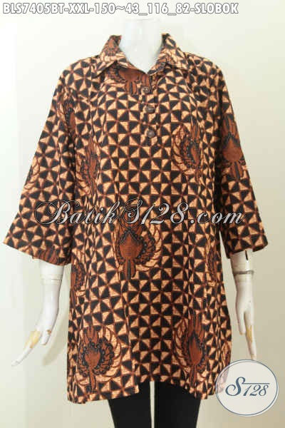 Baju Blus Klasik Istimewa, Pakaian Batik Kerah Lancip Kombinasi Tulis Pakai Kancing Depan, Lebih Nyaman Dan Keren, Size XXL