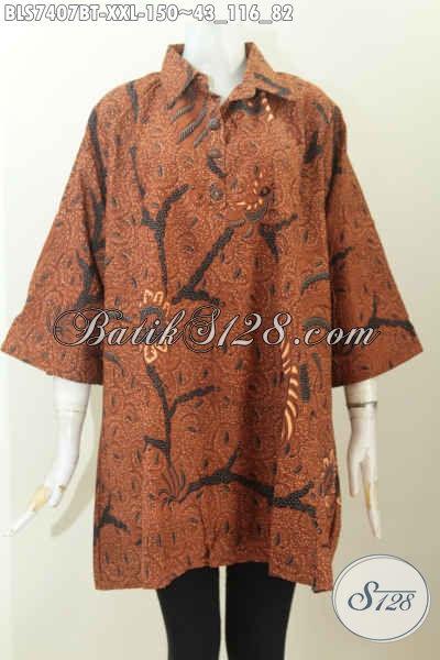 Baju Batik Kerja Istimewa Harga Biasa Untuk Wanita Gemuk, Blus Batik Kerah Lancip Motif Klasik Kancing Depan Harga 150K [BLS7407BT-XXL]