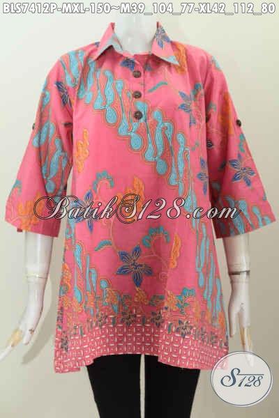 Galery Baju Batik Wanita Kerja, Jual Blus Kerah Lancip Dengan Kancing Depan Bahan Halus Warna Cerah Motif Bagus Harga 150K Proses Printing [BLS7412P-M]