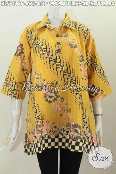 Blus Batik Kuning Kerah Lancip, Batik Busana Kerja Wanita Muda Dan Dewasa Tampil Mempesona, Size M – XL