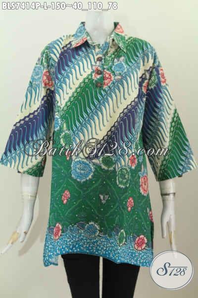 Batik Blus Motif Modern Klasik, Busana Batik Jawa Warna Hijau Proses Printing Desan Kancing Depan Kerah Lancip, Tampil Modis Dan Gaya, Size L