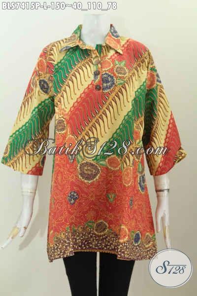Busana Batk Wanita Karir, Blus Batik Kerah Lancip Dengan Kancing Depan Berpadu Motif Mewah Proses Printing Hanya 150K [BLS7415P-L]