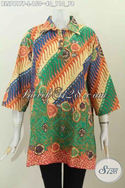 Koleksi Terkini Baju Batik Wanita Kerja, Blus Kerah Lancip Kancing Depan Nan Istimewa, Bikin Penampilan Lebih Bergaya [BLS7417P-L]