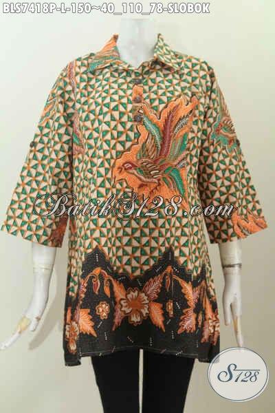 Batik Blus Keren Kancing Depan Kerah Lancip Motif Slobok, Bisa Untuk Acara Santai Dan Resmi, Size L
