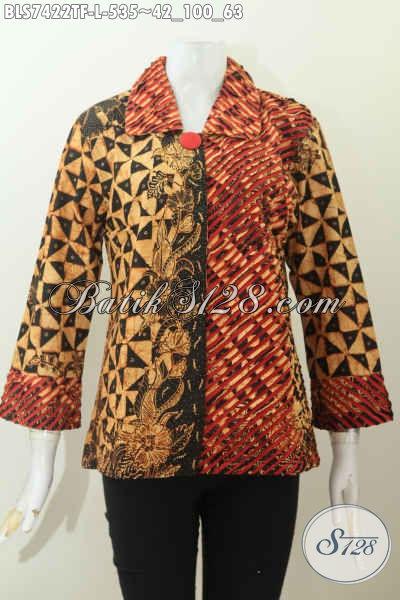 contoh model baju batik atasan wanita kantor pakai daleman furing tricot