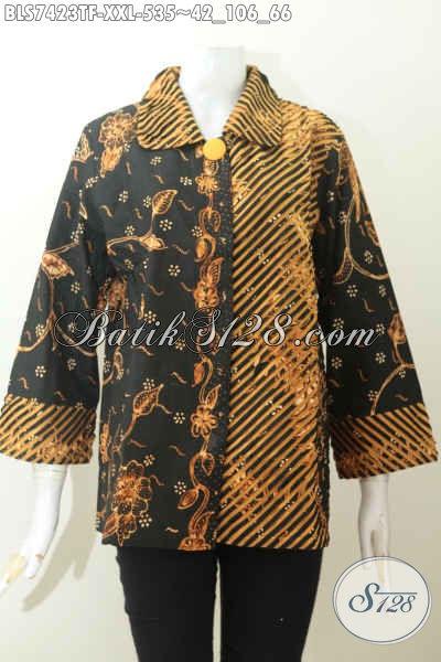 Baju Batik Mahal Wanita Karir, Busana Batik Cacah Kerah Dan Samping Motif Bagus Tulis Asli Daleman Full Furing Harga 535K [BLS7423TF-XXL]