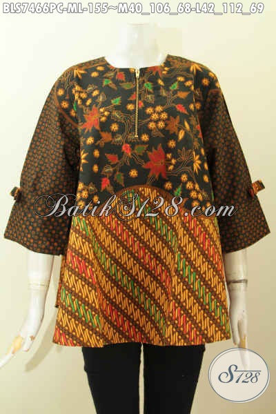 Blus Febi Dengan Kancing Resleting Depan Desain A Simetris, Baju Batik Klasik Untuk Wanita Tampil Elegan, Size M – L