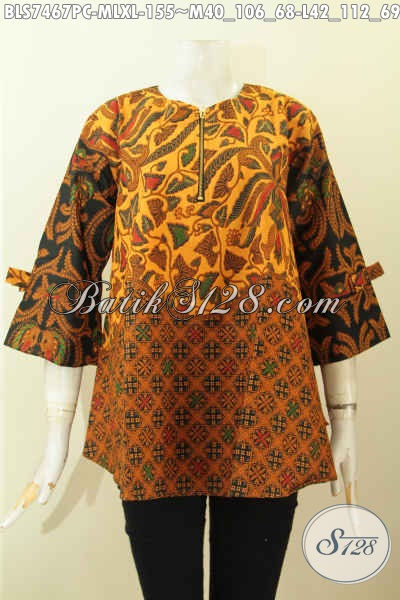 Busana Batik Blus Febi Keren Dengan Resleting Depan, Pakaian Batik A Simetris Lengan Berpita Motif Klasik Harga 155K, Size L – XL