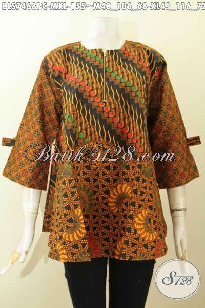 Blus Febi Bahan Batik Klasik Printing, Baju Batik Solo A Simetris Dengan Kancing Resleting Depan, Tampil Lebih Menawan, Size M
