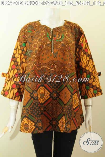 Baju Batik Berkelas, Blus Febi Kencing Resleting Deapn Motif Kombinasi, Model A Simetris Lengan Berpita, Tampil Mempesona [BLS7470PC-L]