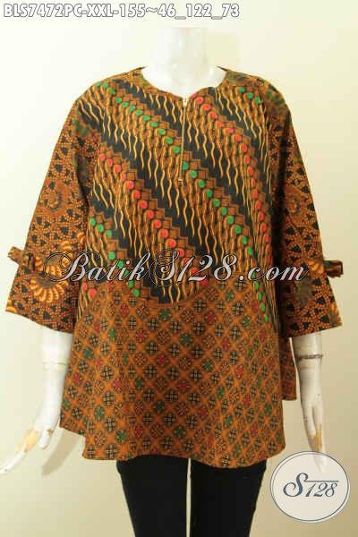 Blus Batik Dua Motif Big Size, Pakaian Batik Blus Febi Elegan Dengan Desain A Simetris Lengan Berpita Proses Printing 155K [BLS7472PC-XXL]