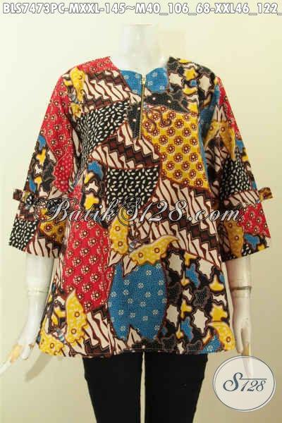 Pakaian Batik Wanita Terkini, Baju Batik Seragam Kerja Blus Febi, Busana Batik Elegan Berkelas Motif KLasik Printing Harga 155 Ribu [BLS7473PC-M]