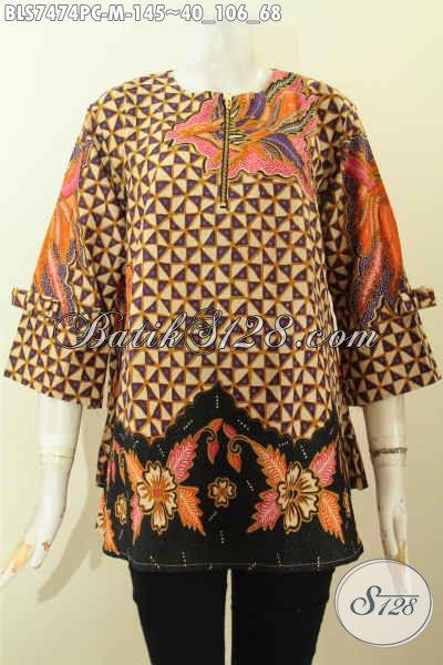 Aneka Busana Batik Wanita Dengan Desain Modern, Blus Febi Resleting Depan tanpa Furing