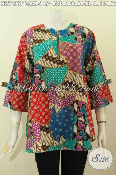 Sedia Baju Blus Batik Jawa Terkini, Pakaian Batik Modis Halus Proses Printing Model Febi Lengan Berpita Dan Kancing Resleting Depan, Size M – XL