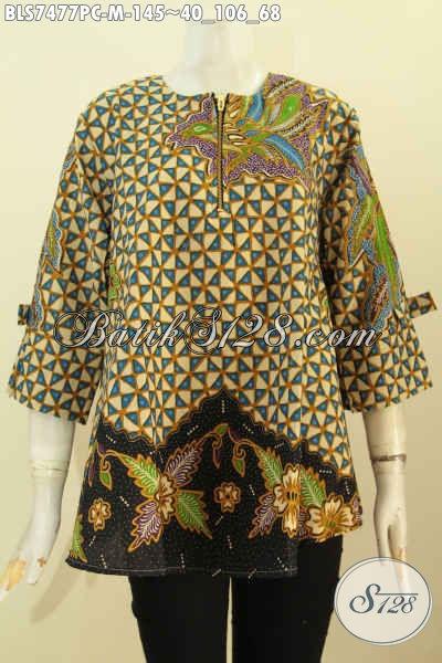Jual Blus Batik Solo Desain A Simetris, Pakaian Batik Febi Lengan Berpita Motif Bagus Proses Printing Hanya 145K [BLS7477PC-M]