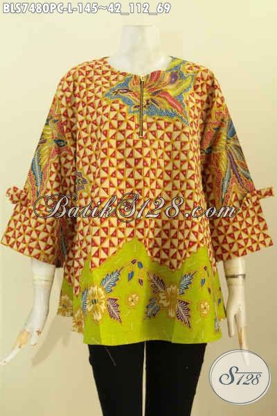 Pakaian Batik Wanita Muda, Blus Batik Solo Elegan Model A, Batik Blus Febi Berkelas, Tampil Lebih Elegan [BLS7480PC-L]