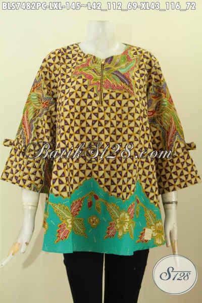 Blus Batik Wanita Dewasa, Busana Batik Blus Febi Buatan Solo Yang Membuat Penampilan Cantik Dan Gaya, Size L – XL