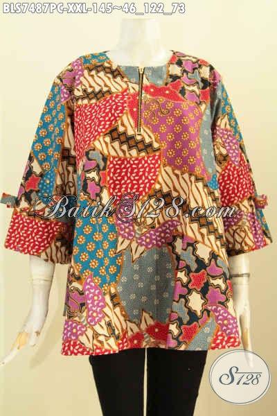 Blus Febi Batik Elegan Dan Trendy, Baju Batik Printing Motif Berkelas Desain A Lengan Berpita Agar  Wanita Gemuk Terlihat Modis [BLS7487PC-XXL]