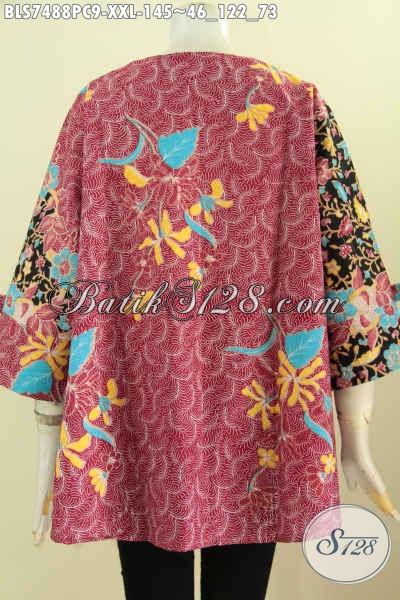 Blus Batik Wanita Gemuk Buatan Solo, Blus Febi Modis Lengan Berpita Motif Proses Printing, Di Jual Online 145K [BLS7488PC-XXL]