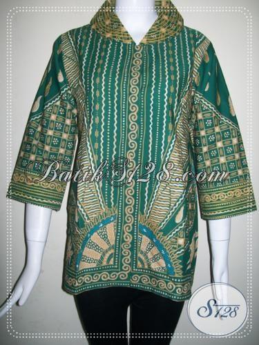 Blus Batik Tulis Motif Matahari,Blus Atasa BAtik Warna Hijau [BLS748T]