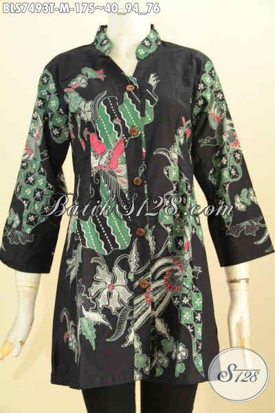 Pusat Baju Batik Solo Online, Sedia Koleksi Terbaru Blus Shasi Motif Bagus Proses Tulis Harga 175K Model Kerah Shanghai, Size M