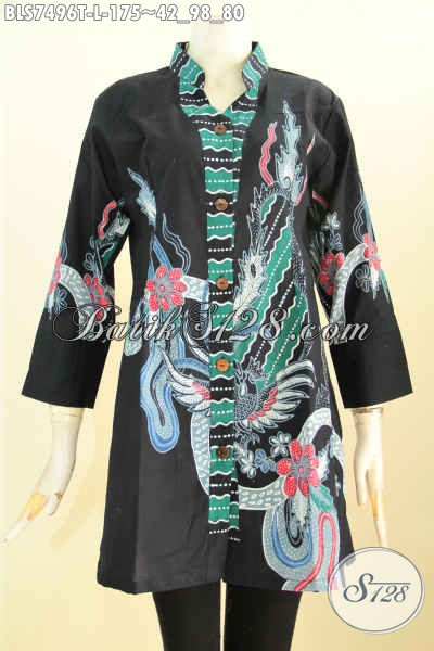Baju Blus Sashi Bahan Batik Tulis Elegan Warna Hitam Berpadu Motif Keren Hanya 175K [BLS7496T-L]